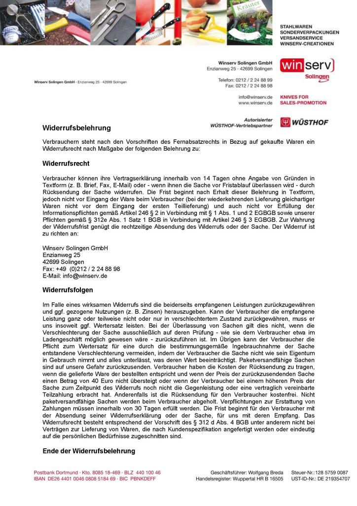 Winserv Solingen GmbH Widerrufsbelehrung